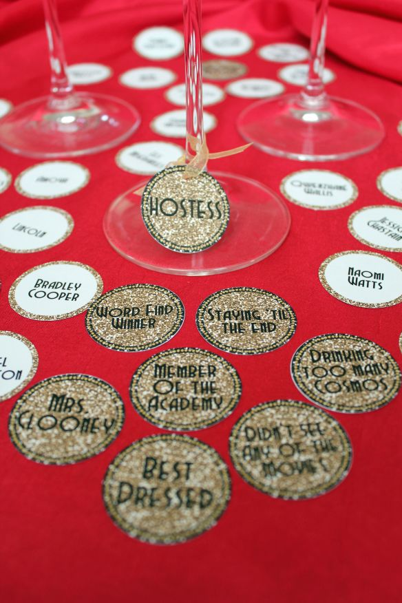 Oscar Party Wine Charms