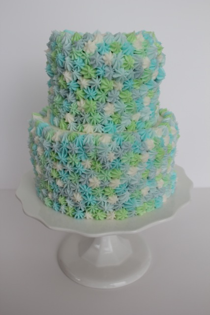 Green & Blue Star Cake