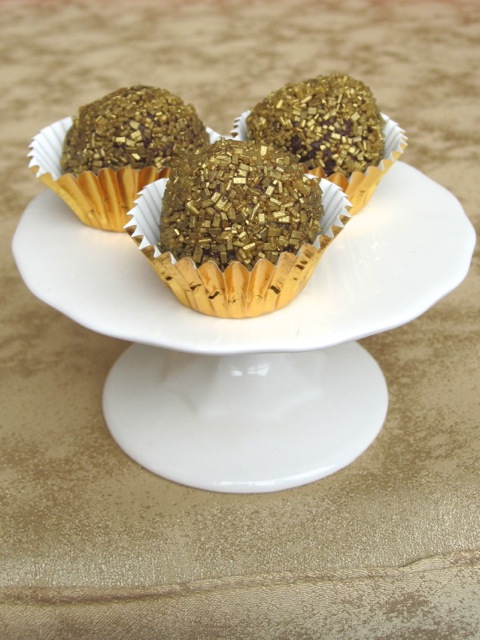 Chocolate-Champagne Truffles in Gold Sanding Sugar